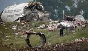 Plane-debris-on-land